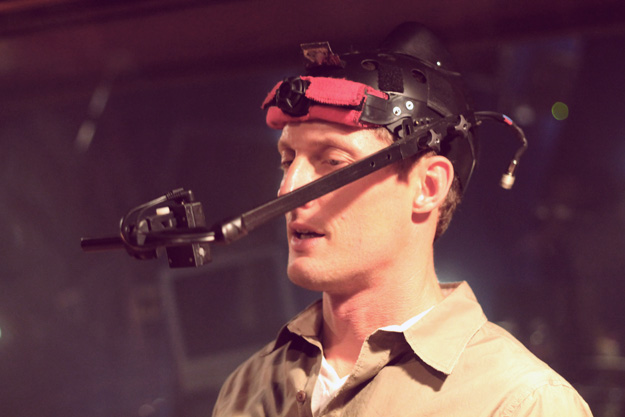 Todd Resnick in a motion capture camera helmet