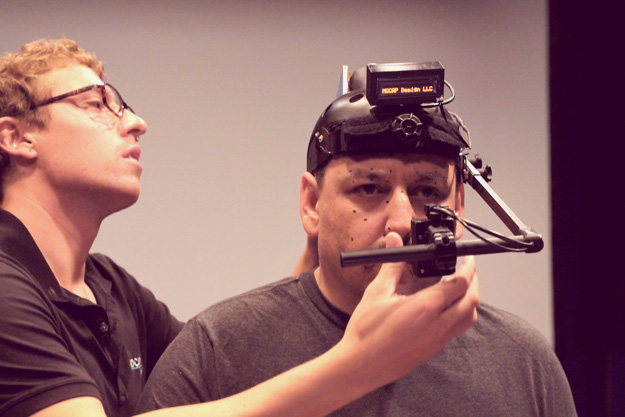JB Blanc in a motion capture camera helmet