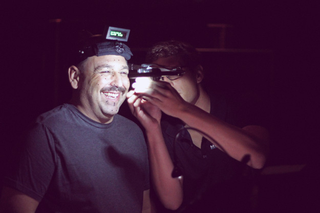 Voiceover actor, JB Blanc, getting his motion capture camera adjusted
