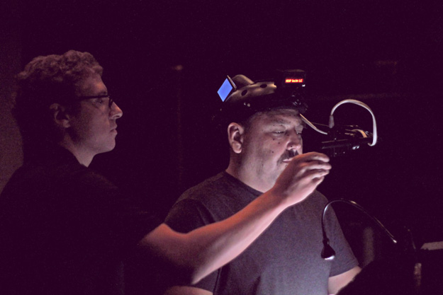 JB Blanc reading voiceover lines with a motion capture camera